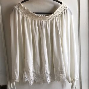 Wrangler cream and lace off shoulder XXL Blouse